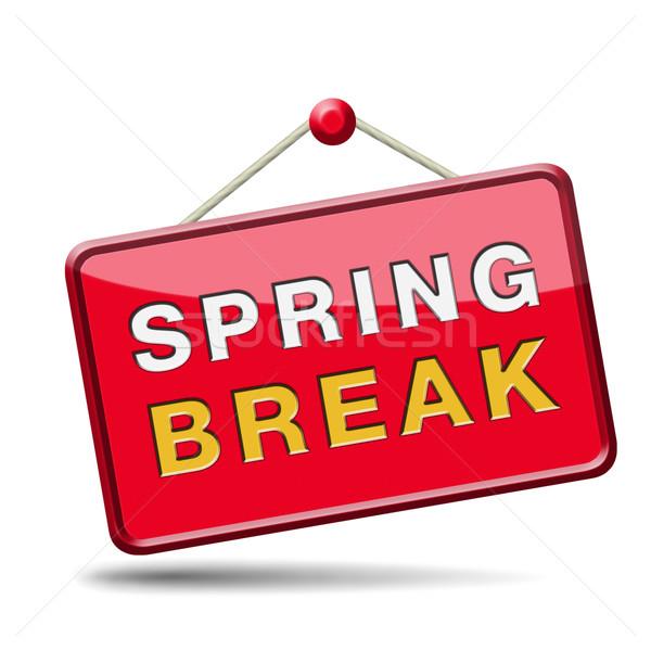 Tavaszi szünet iskola vakáció ikon gomb ünnep Stock fotó © kikkerdirk