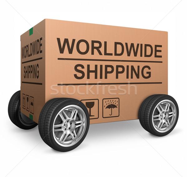 światowy wysyłki internetowych sklep ikona zakupy online Zdjęcia stock © kikkerdirk