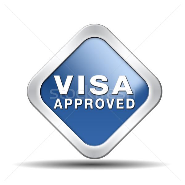 Visa aprovado imigração carimbo fronteira alfândega Foto stock © kikkerdirk