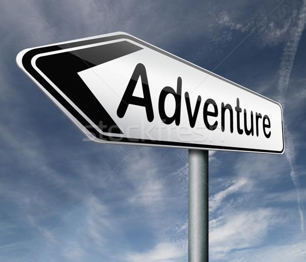 Macera yol işareti seyahat dünya yaşamak maceraperest Stok fotoğraf © kikkerdirk