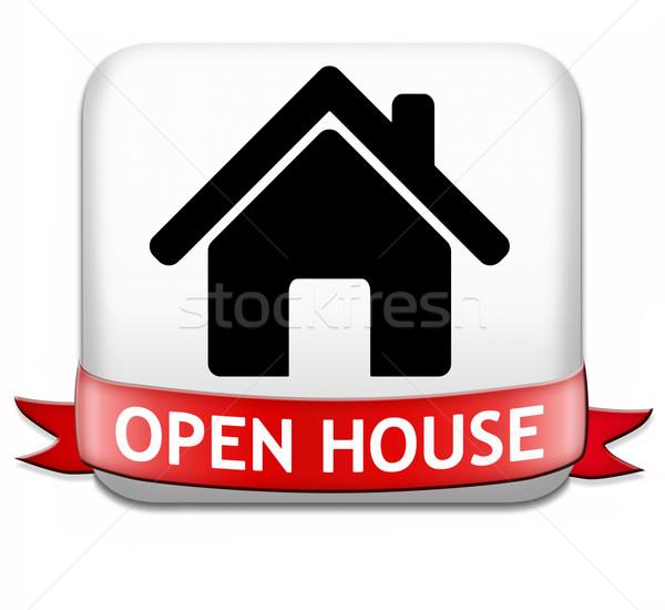 Foto d'archivio: Open · casa · pulsante · segno · banner