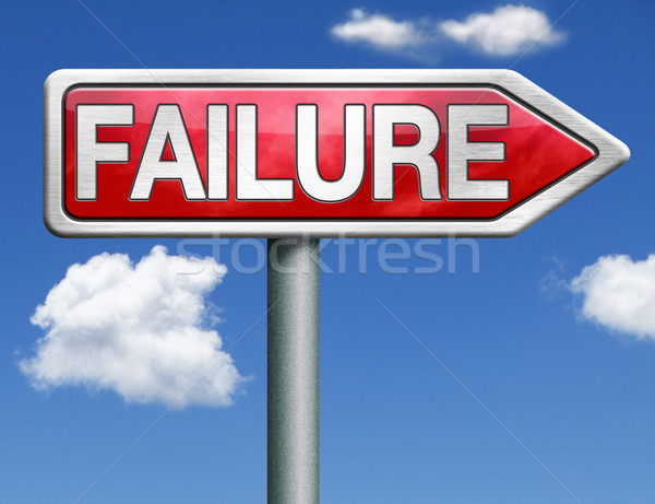 Mislukking verkeersbord pijl mislukte taak faillissement Stockfoto © kikkerdirk
