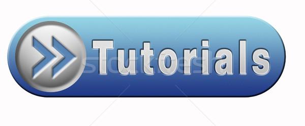 Tanul online videó lecke kék gomb Stock fotó © kikkerdirk