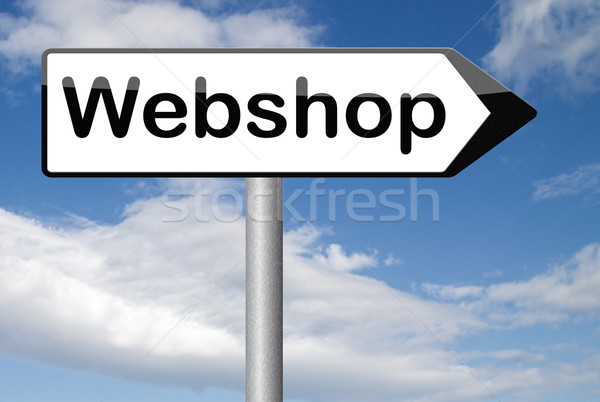 Webshop jelzőtábla vásárol elad internet háló Stock fotó © kikkerdirk