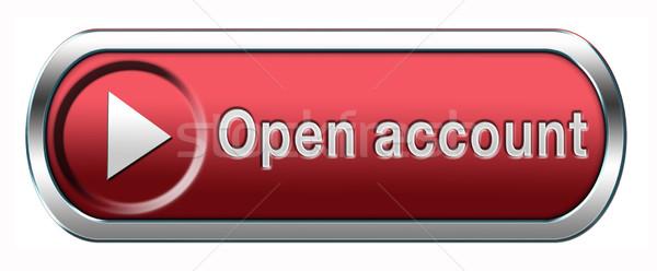 Open rekening knop icon lidmaatschap abonnement Stockfoto © kikkerdirk