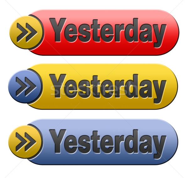 Ontem ícone botão dia tempo azul Foto stock © kikkerdirk