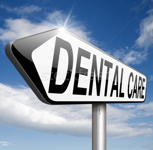Tandheelkundige zorg centrum persoonlijke hygiëne zorgverzekering glimlach tanden Stockfoto © kikkerdirk