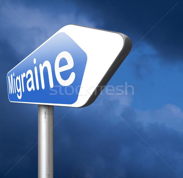 Migrena głowy potrzeba środek przeciwbólowy podpisania pojęcia Zdjęcia stock © kikkerdirk