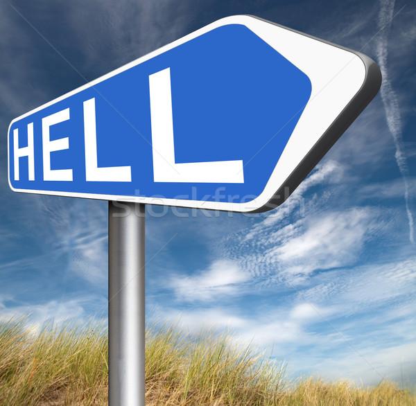 üdvözlet pokol gonosz ördög szerencsétlenség felirat Stock fotó © kikkerdirk