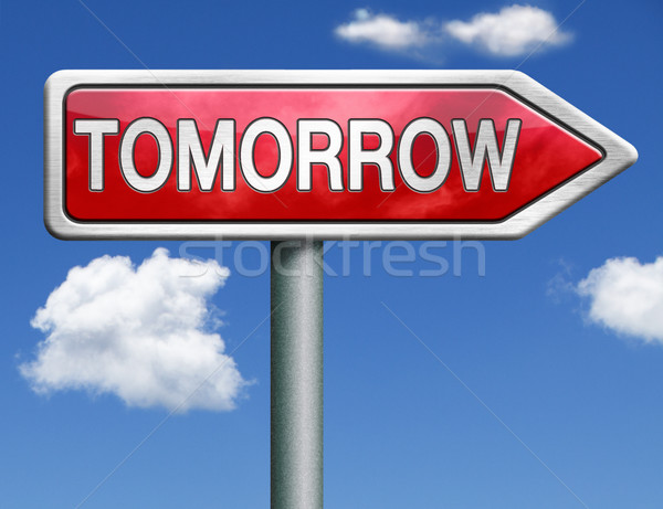 завтра дорожный знак стрелка что будущем новых Сток-фото © kikkerdirk