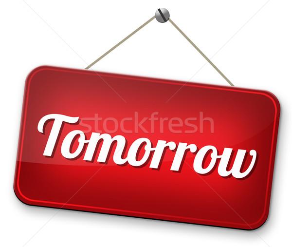 Stockfoto: Morgen · volgende · dag · banner · binnenkort · wat