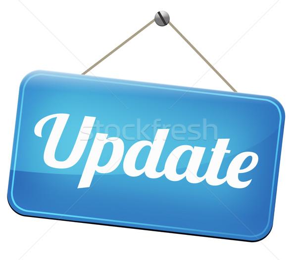 Aktualisieren Zeichen Software jetzt hierher Version Stock foto © kikkerdirk