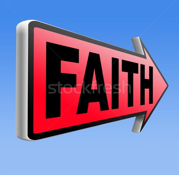 Geloof vertrouwen god jesus verkeersbord pijl Stockfoto © kikkerdirk