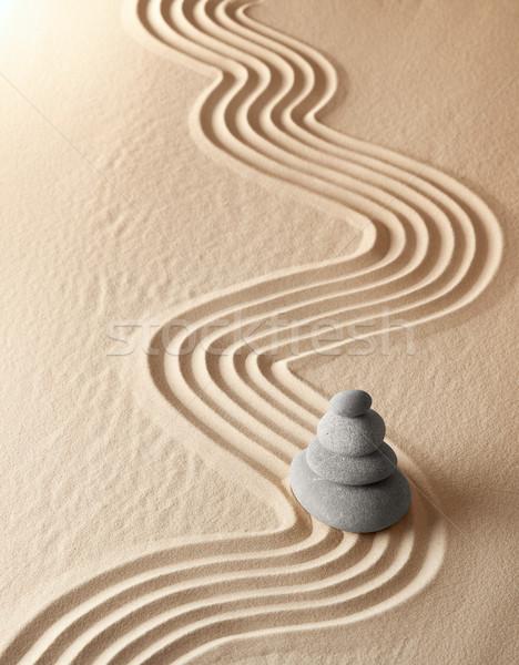 Zen meditatie tuin ontspanning harmonie gezondheid Stockfoto © kikkerdirk