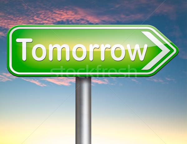 ストックフォト: 明日 · にログイン · 次 · 日 · バナー · すぐに来る