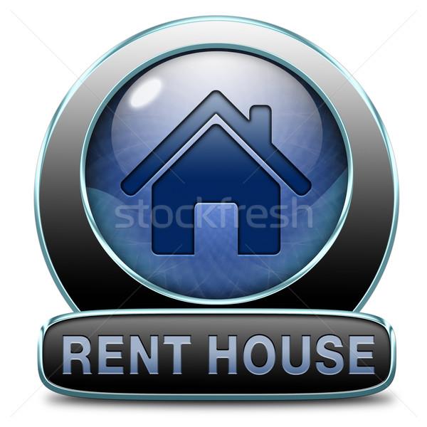 Bérlés ház felirat lakás egyéb ingatlan Stock fotó © kikkerdirk