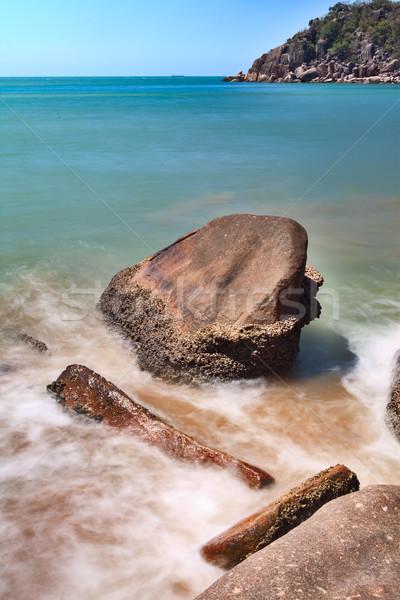 Foto stock: Rochas · surfar · praia · turva · água · mar