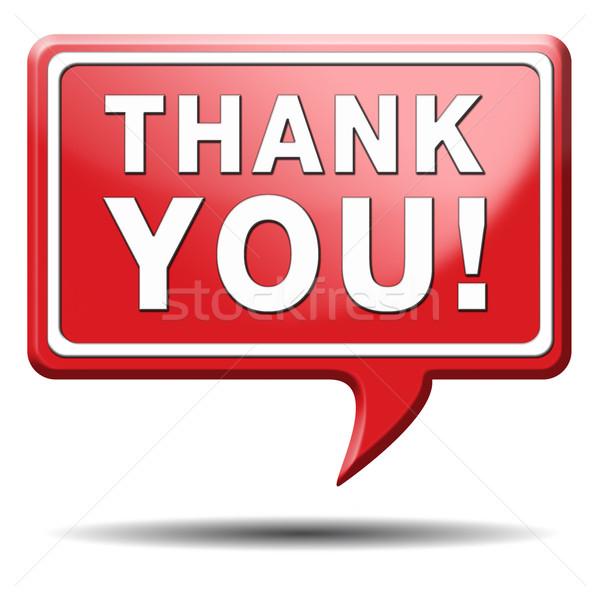 Dank u Rood teken nota gezegde dank Stockfoto © kikkerdirk