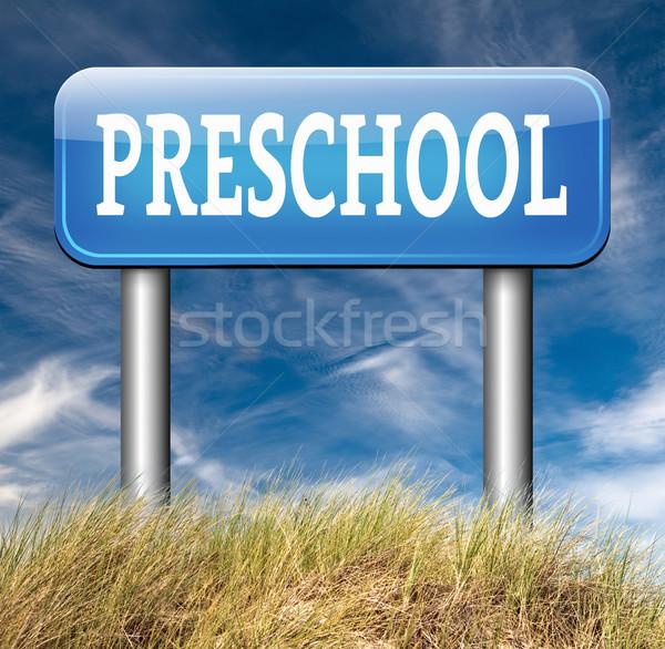 Vorschule Bildung Kindergarten Kindergarten Schule Zeichen Stock foto © kikkerdirk