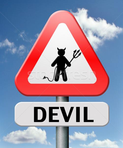ад дьявол зла сатана дорожный знак Сток-фото © kikkerdirk
