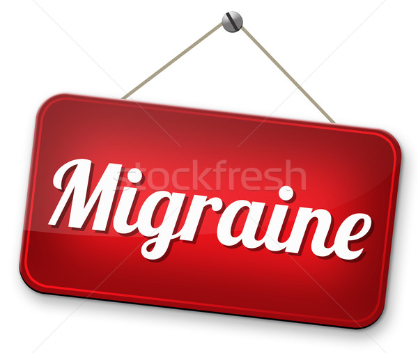 Migräne Kopfschmerzen müssen Schmerzmittel Zeichen Konzept Stock foto © kikkerdirk