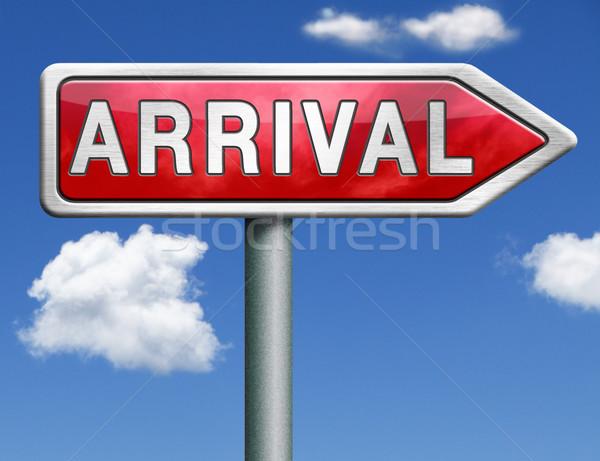 Aankomst verkeersbord pijl teken post Stockfoto © kikkerdirk