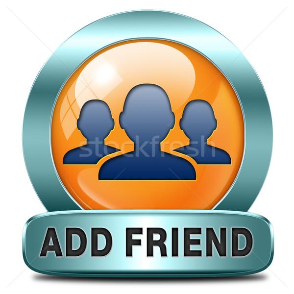 друга икона кнопки онлайн сообщество виртуальный Сток-фото © kikkerdirk