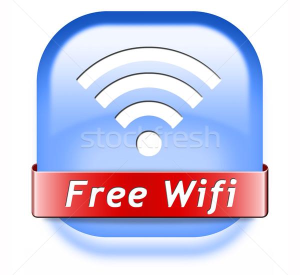 свободный wi-fi кнопки интернет доступ икона Сток-фото © kikkerdirk