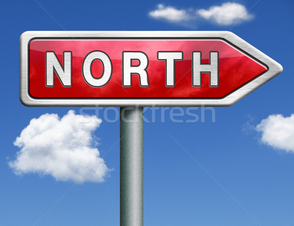 north road sign arrow Stock photo © kikkerdirk