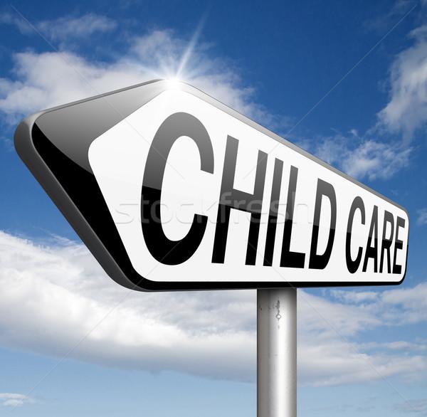Gyermekgondozás óvoda központ felirat gyermek szolgáltatás Stock fotó © kikkerdirk