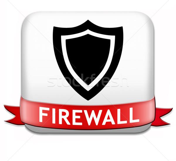 Tűzfal gomb adatvédelem számítógépes vírus cseresznye biztonság Stock fotó © kikkerdirk