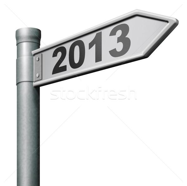 Photo stock: 2013 · nouvelle · année · prochaine · panneau · routier · avenir · up