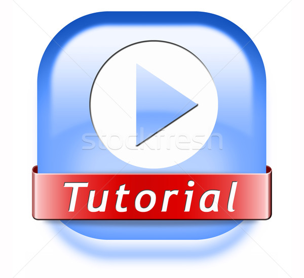 Tutorial botão aprender on-line vídeo lição Foto stock © kikkerdirk