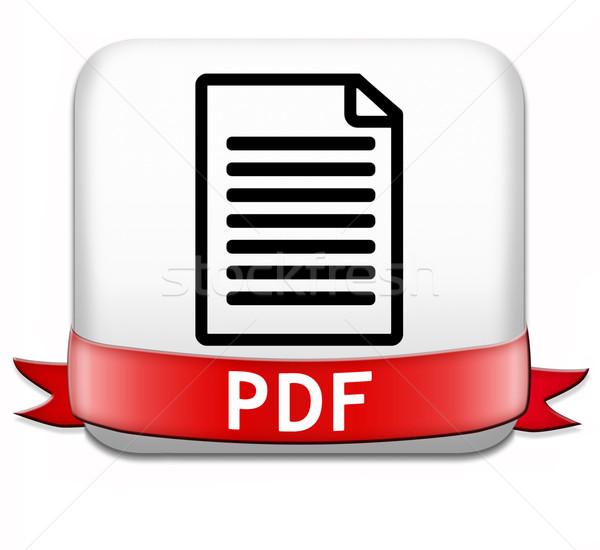 Pdf arquivo baixar documento botão Foto stock © kikkerdirk