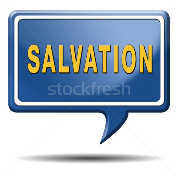 Megváltás Jézus Isten mentés lélek ikon Stock fotó © kikkerdirk
