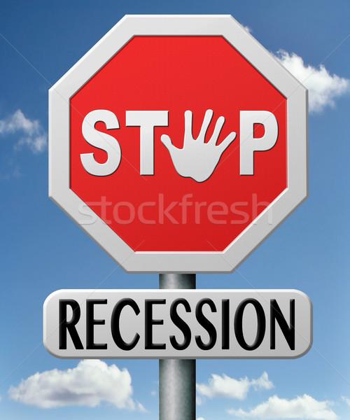 Stop recesszió pénzügyi válság gyógyulás terv tevékenység Stock fotó © kikkerdirk