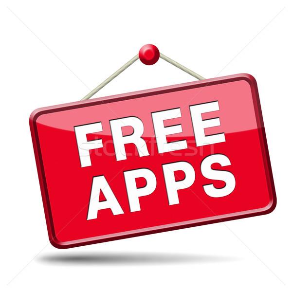 свободный приложения бесплатно приложение скачать икона Сток-фото © kikkerdirk