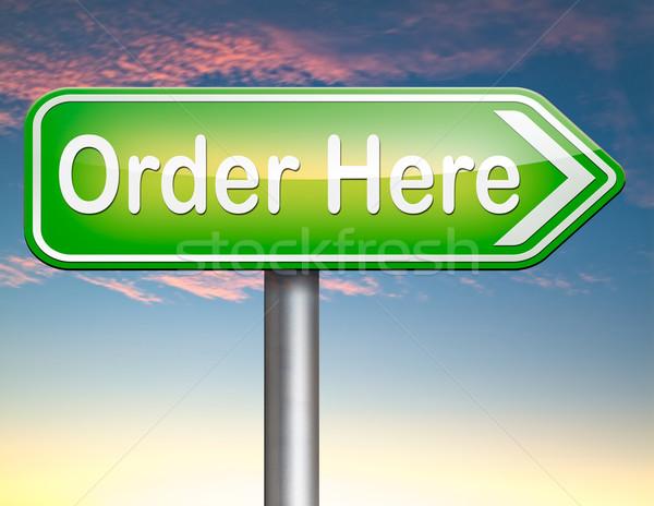 Sipariş burada şimdi çevrimiçi Internet satış Stok fotoğraf © kikkerdirk