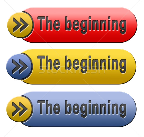 начало кнопки начала знак происхождение икона Сток-фото © kikkerdirk