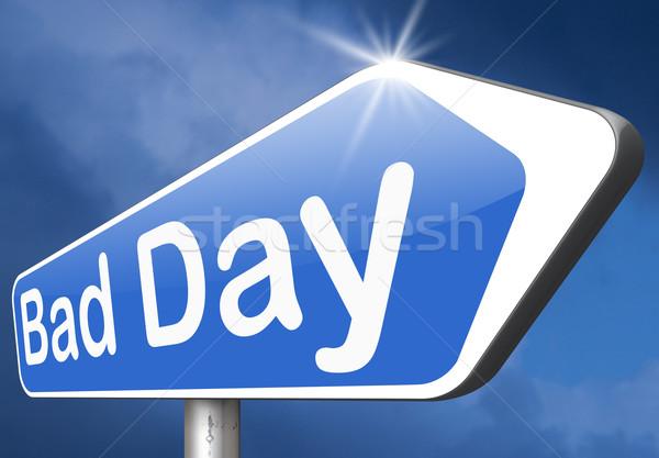 Slechte dag uit geluk ongelukkig af Stockfoto © kikkerdirk