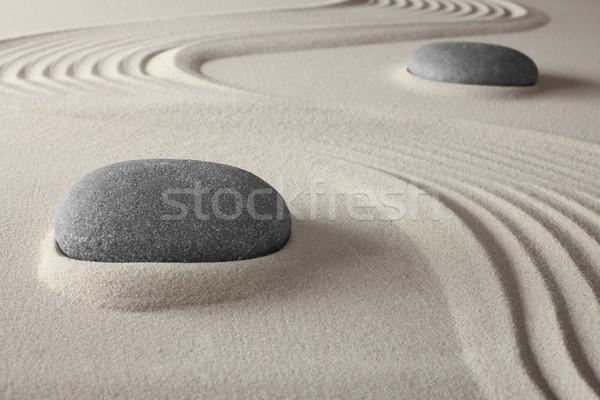 Espiritual estância termal zen jardim areia rocha Foto stock © kikkerdirk