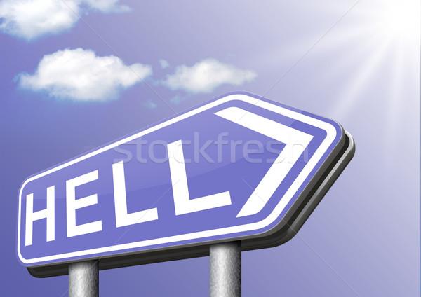 Stockfoto: Welkom · hel · kwaad · duivel · ramp · teken