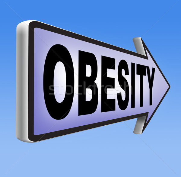 Fettleibigkeit Schild Gewicht fettleibig Menschen Essen Stock foto © kikkerdirk