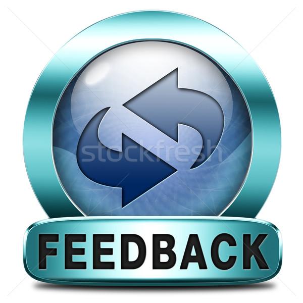 Geribesleme ikon düğme gelişme müşteri memnuniyeti Stok fotoğraf © kikkerdirk