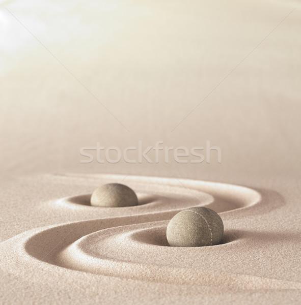 Zen tuin meditatie steen exemplaar ruimte stenen Stockfoto © kikkerdirk