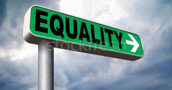 равенство дорожный знак солидарность равный правые Сток-фото © kikkerdirk