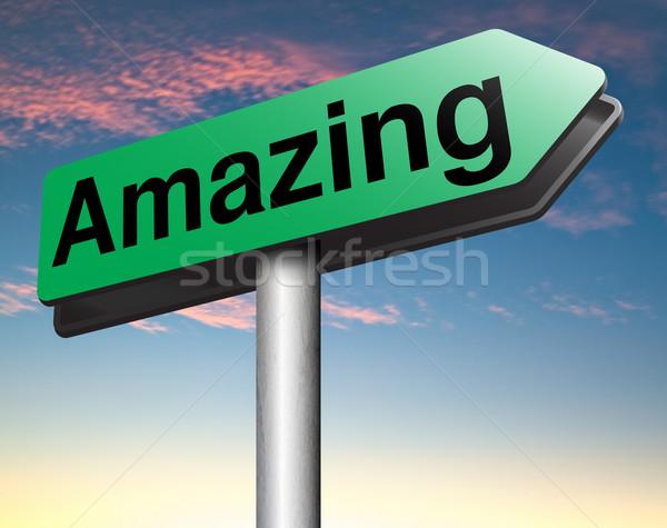 Elképesztő klassz wow felirat kitűnő szuper Stock fotó © kikkerdirk