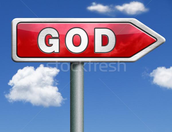 God road sign arrow Stock photo © kikkerdirk
