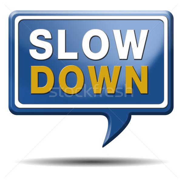 slowdown blue text balloon Stock photo © kikkerdirk