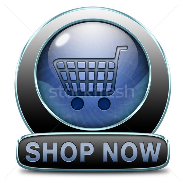 Bolt most felirat online webshop gomb Stock fotó © kikkerdirk